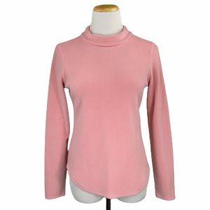 LOFT Stretch Pink Long Sleeve Fleece Turtleneck